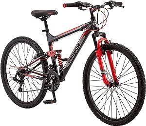 Mongoose Status Mountain Bike for Men and Women, Status 2.2, 26-Inch Wheels, Black/Red