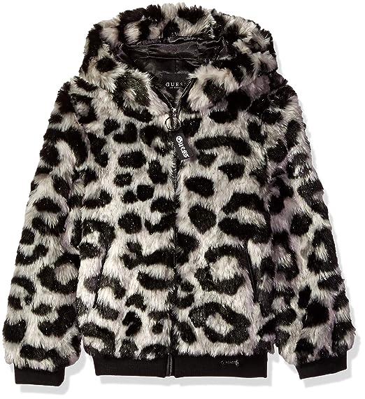 8b2a2861a8a0 Amazon.com: GUESS Girls' Big Faux-Fur Animal Print Hoodie: Clothing