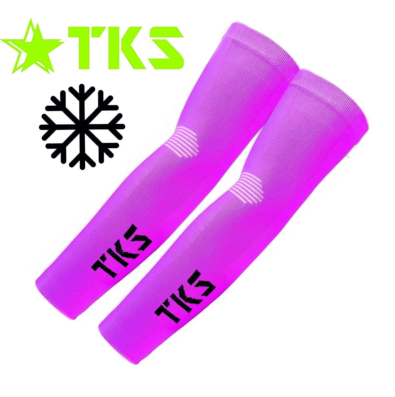 TKS Manguitos DE Compresion VETTON Rosas para Running Ciclismo,Triatlon Y Senderismo