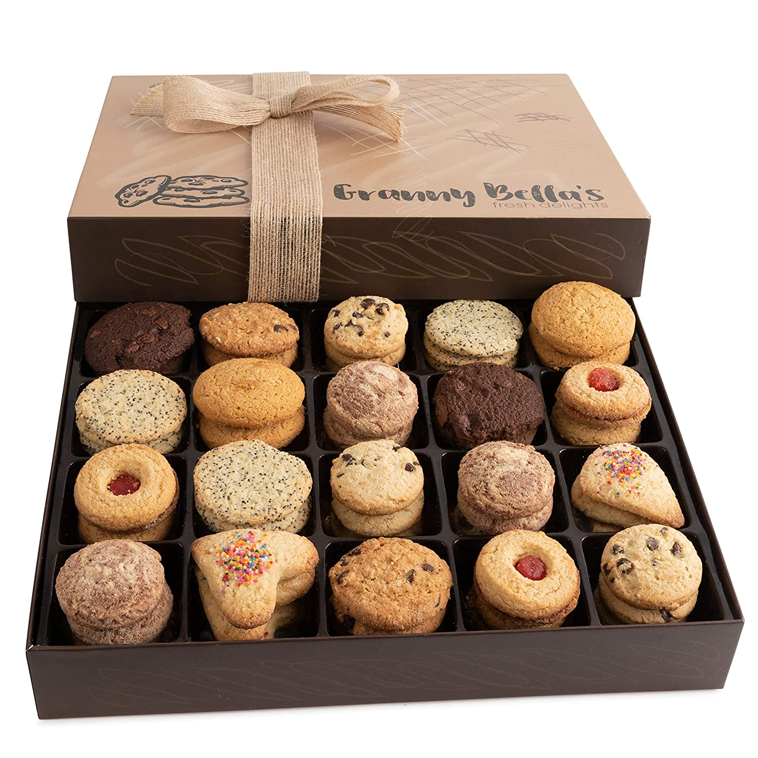 Granny Bella's Christmas Cookie Gift Baskets, 52 Gourmet Cookies, Family Holiday Assortment Food Birthday Gifts, Prime Unique Box Delivery for Men and Women Mother Father Thanksgiving & Valentines Day