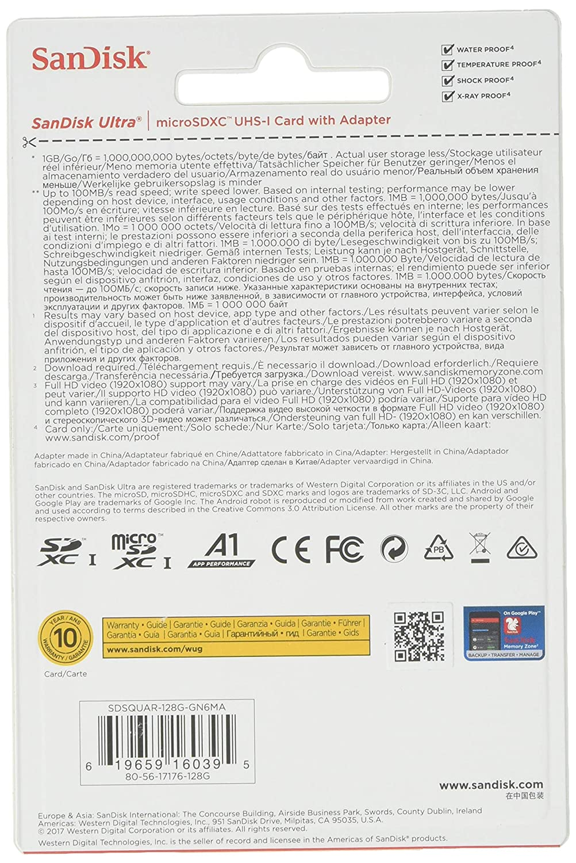 Tarjeta con Adaptador SanDisk Ultra microSDXC UHS-I U1 C10 128 GB A1