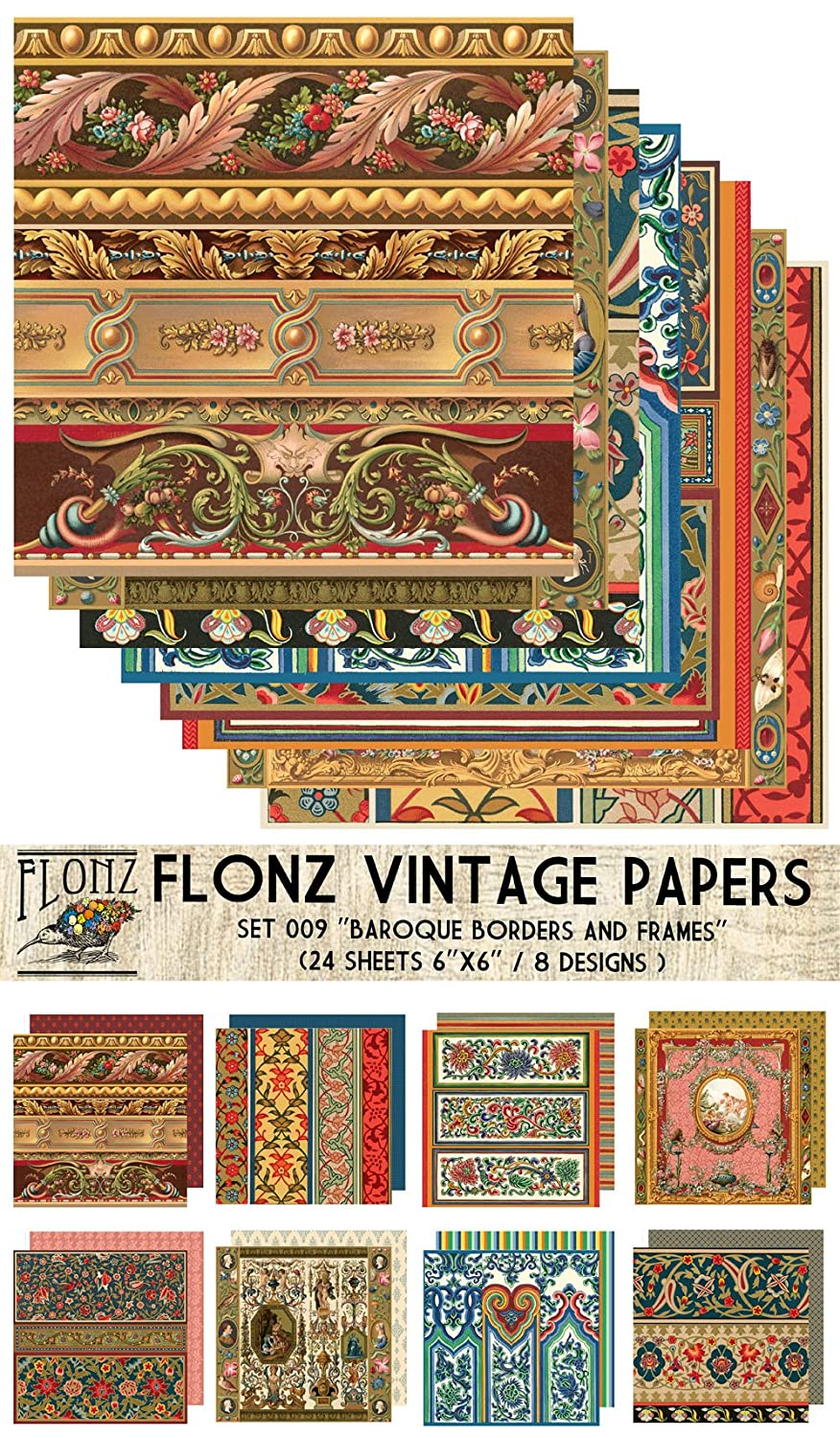 24 Sheets 6x6 Decoupage Paper Pack Old Oak FLONZ Vintage Styled Paper for Decoupage and Craft