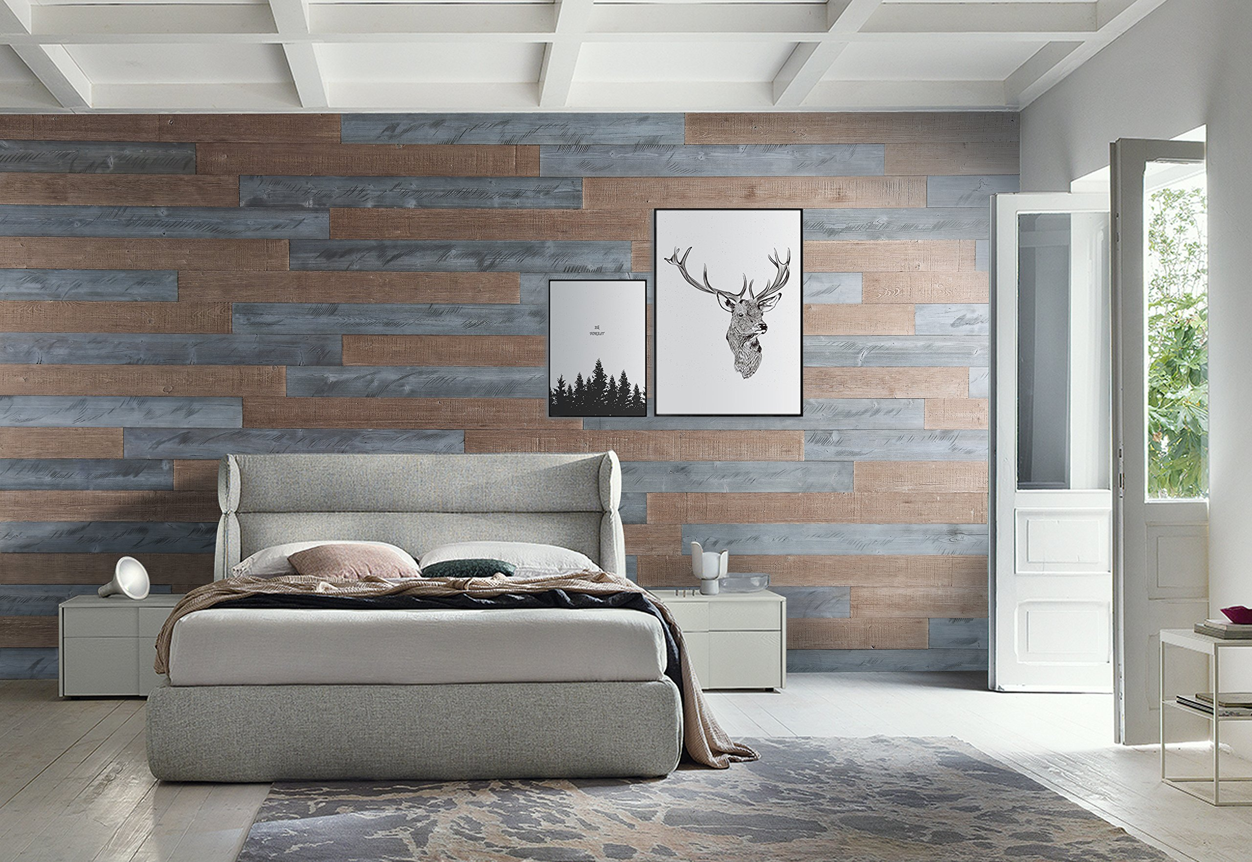 WoodyWalls Peel and Stick Wood Wall Panels. Two color combinations (19.5 sq. ft.) (Natural Gray, Warm Sand)