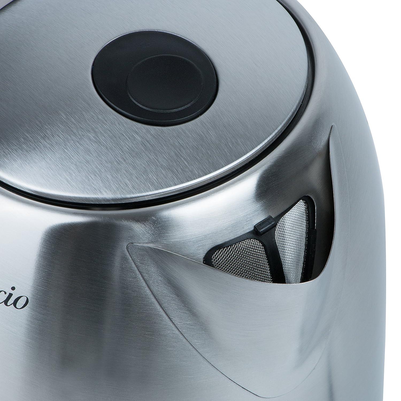 80 100 °C 2 Std Warmhaltefunktion 2200W 1,7L Edelstahl Wasserkocher mit Temperatureinstellung 60 90 LED Beleuchtung Farbwechsel ändert Farbe je eingestellter Temperatur TZS First Austria 70