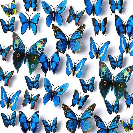 Mixed size blue Stereoscopic Butterflies wall sticker set of 24 pcs butterflies,various sizes 3D butterflies wall decal