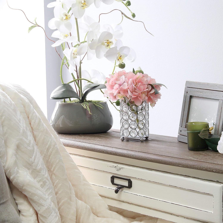 Chrome Candle Holder Wedding Centerpiece Elegant Designs HG1000-CHR Elipse Crystal Decorative Flower Vase 3.25 Inch