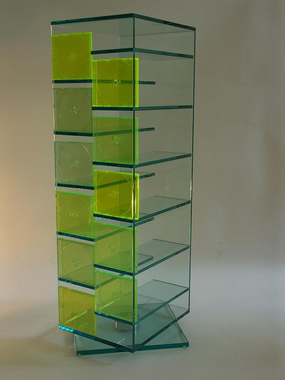 Paul Snajdar JANUS - Estantería de cristal para CD o DVD (125 cm, giratoria), color transparente