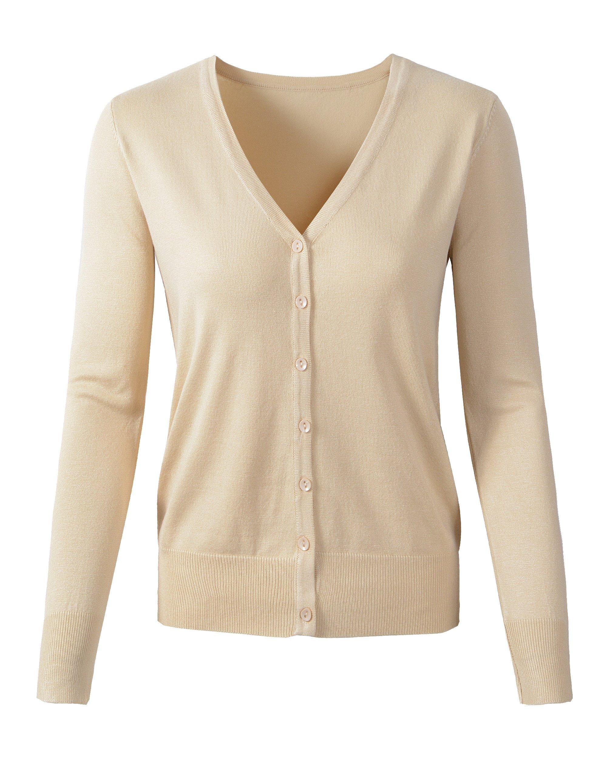 Womens V Neck Button Down Long Sleeve Basic Soft Knit Cardigan Sweater (US Large/Tag 2XL, 135Khaki) by Benibos (Image #1)