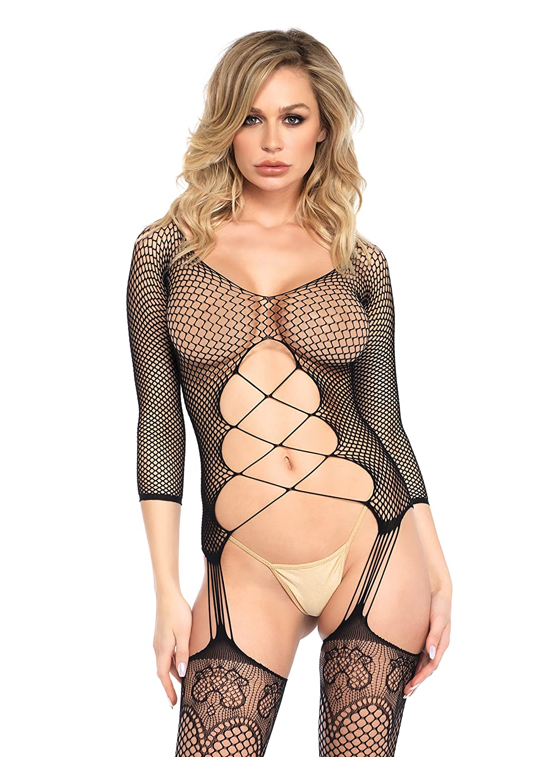Leg Avenue Women's Industrial Net Long Sleeve Bodystocking with Cut Out Body Black One Size 8912922001