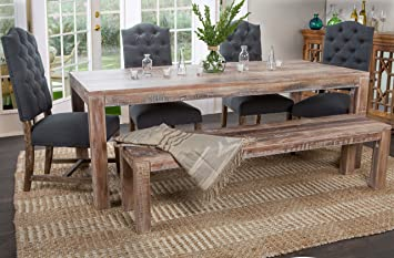 Kosas Home Harbor Dining Table, Hand Distressed In Lime Wash