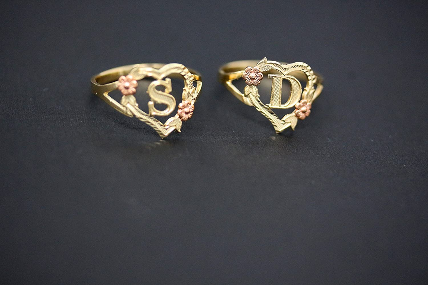 Letter O CaliRoseJewelry 10k Gold Initial Alphabet Personalized Heart Ring