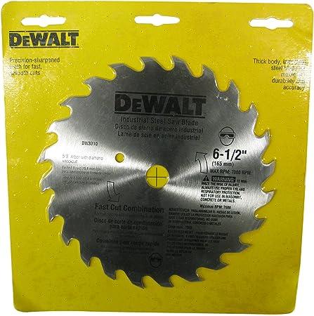 """DEWALT,6-1//2/""""18 Tooth ATB Fast Cutting Carbide Saw Blade with 5//8/""""Arbor"""