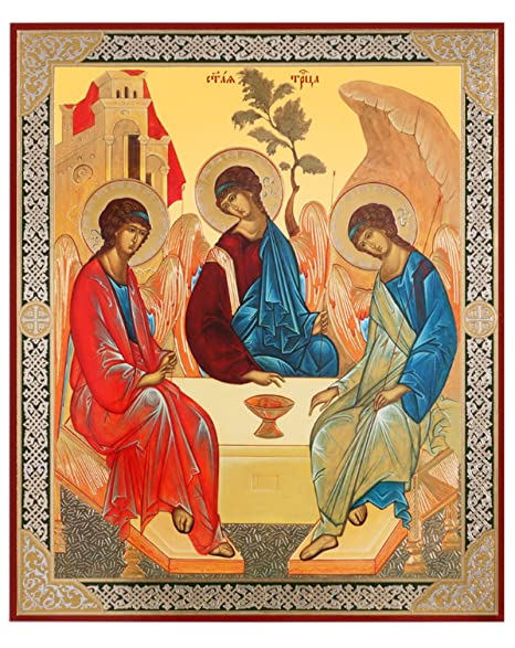 Religious Gifts Russian Orthodox Holy Trinity Icon Old Testament Trinity  Rublev 8 3/4 Inch