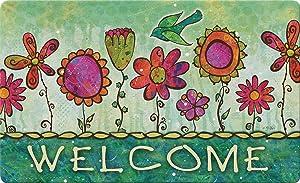 Toland Home Garden Groovy Blooms 18 x 30 Inch Decorative Flower Floor Mat Floral Welcome Doormat