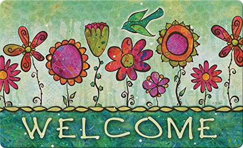 Toland Home Garden 830178 Groovy Blooms 18 x 30 Recycled Mat, USA Produced