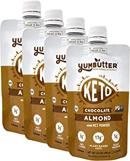 product image for Keto Nut Butter, Chocolate Almond – Keto Snacks with MCT Oil, Fat Bomb Low Carb Snacks (3 Net Carbs), On-the-go Keto Food by Yumbutter, 3.4oz pouch, 4 pack