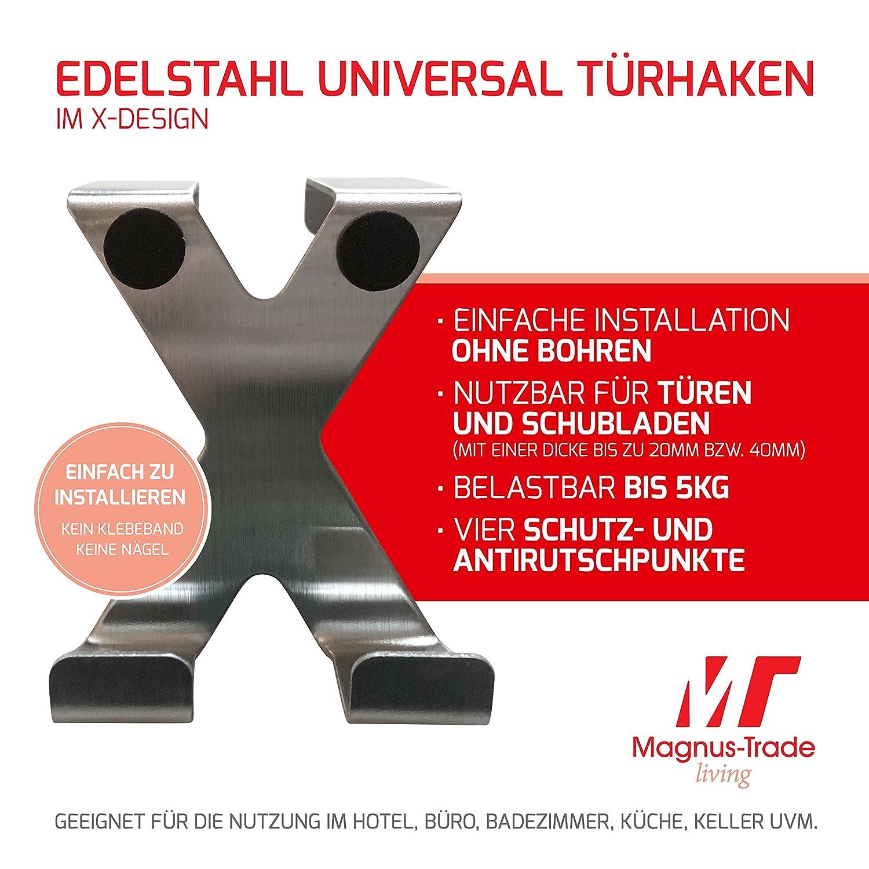 Magnus-Trade 2x Edelstahl Kleiderhaken Türhaken in X-Form ohne ...