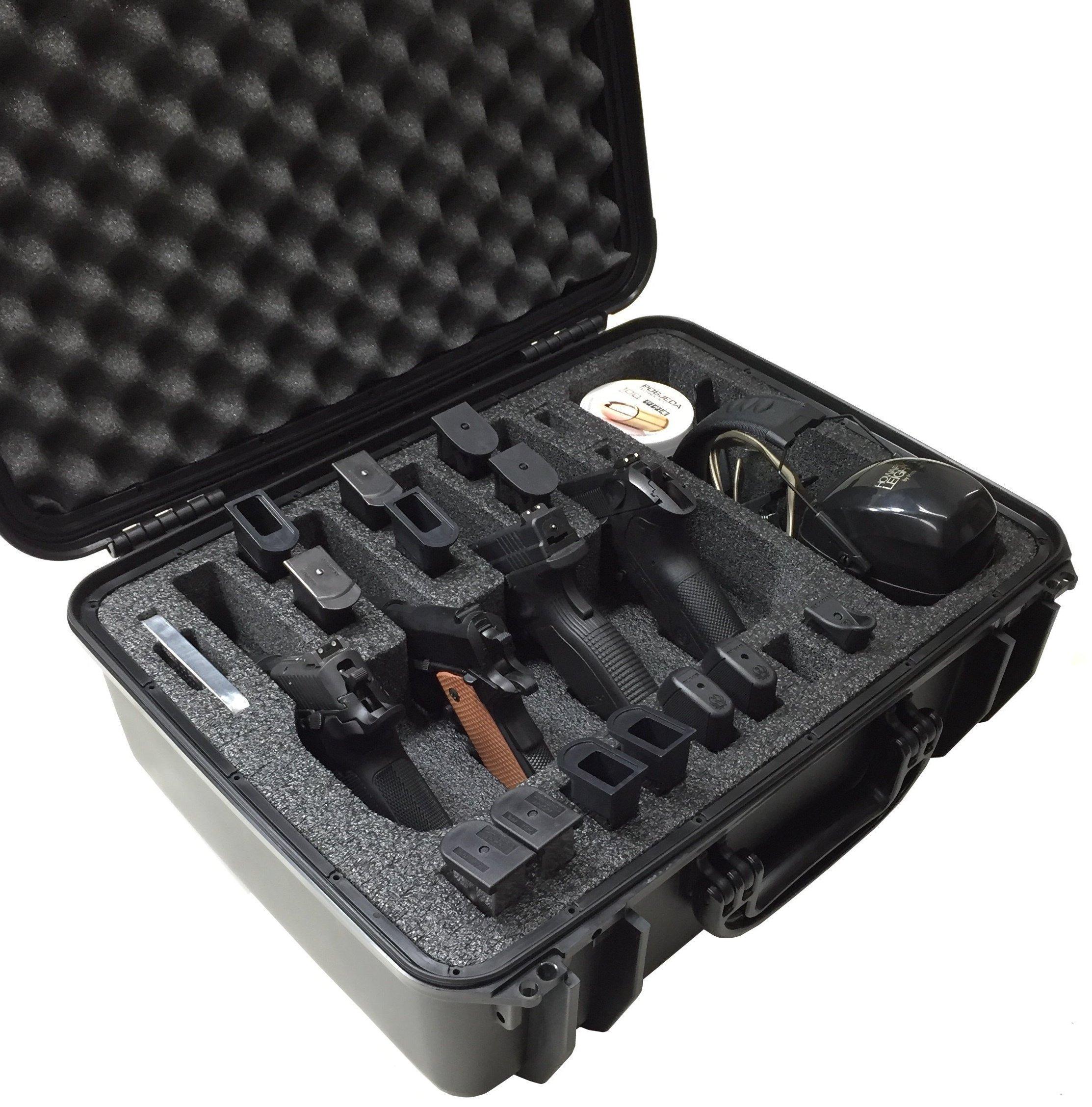 Case Club Waterproof 4 Pistol Case with Accessory Pocket & Silica Gel to Help Prevent Gun Rust