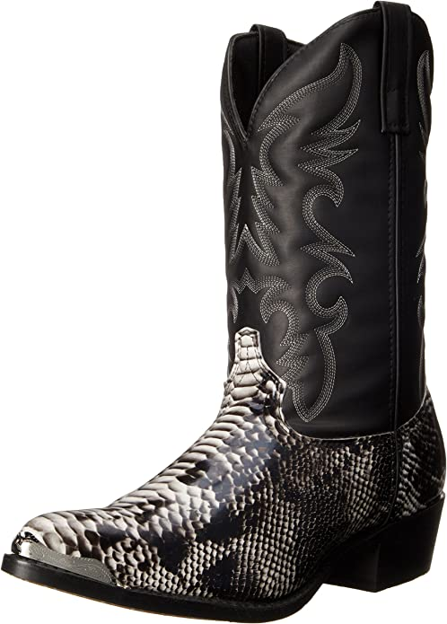 Laredo Mens Monty Croc Snip Toe Western Cowboy Dress Boots Mid Calf - Black