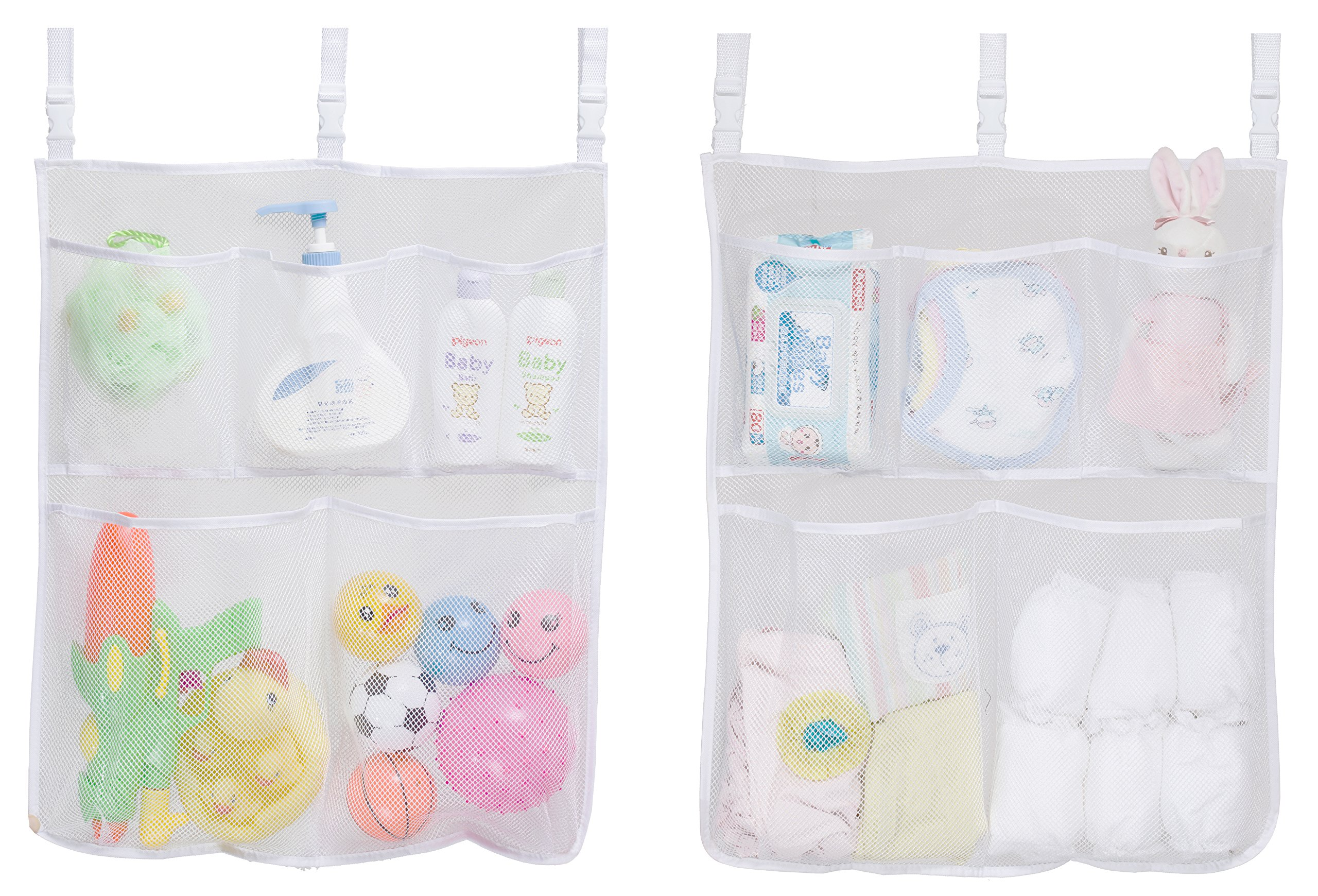 Mesh Bath Toy Organizer Nursery Baby Diaper Caddy Hanging Crib Organization Storage for Changing Table, Wall, Bathtub, Bathroom with 3 Adjustable Straps