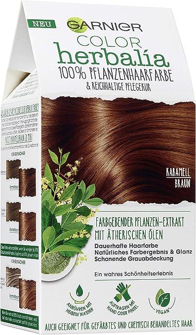 Garnier Color Herbalia - Tinte para el pelo vegetal, color marrón caramelo 100% vegetal, vegano, 3 unidades (1 unidad)