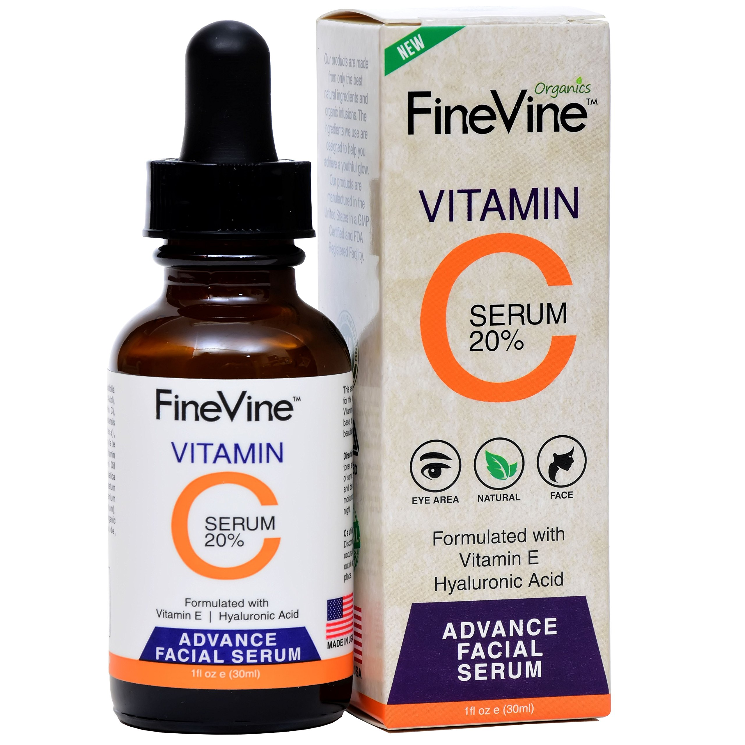Vitamin C Serum for Face with Hyaluronic Acid - Made in USA - Best Natural Anti-Aging Formula to Correct Age Spots, Skin Sun Damage, Facial Fine Lines & Eye Wrinkles.