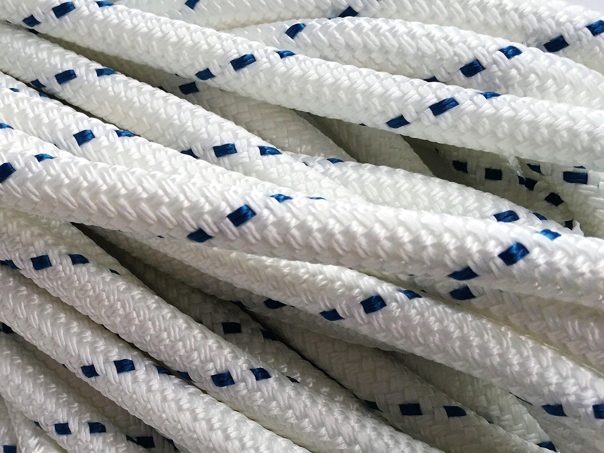 1/2'' X 300' Double Braid/Yacht Braid Premium Polyester Halyard Rigging Line, White/Blue