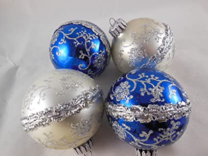 "Set of 4 Classic Krebs Mercury Glass Christmas Ornaments 2.5"" White  and Gold with sparkles - Amazon.com: Set Of 4 Classic Krebs Mercury Glass Christmas Ornaments"