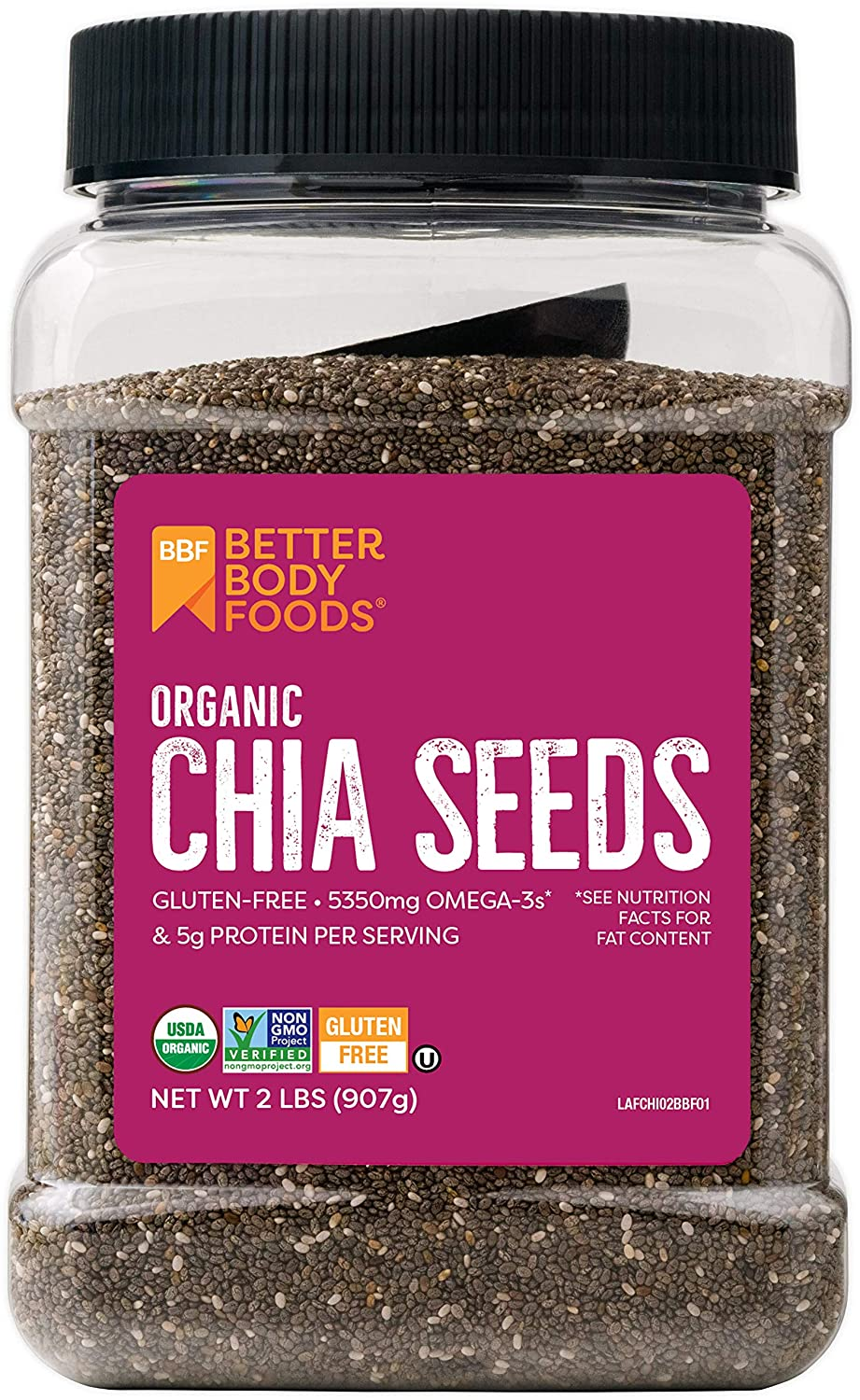 Amazon.com : BetterBody Foods Organic Chia Seeds with Omega-3, Non ...