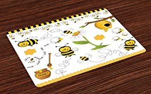 Ambesonne Collage Place Mats Set of 4, Flying Bees Daisy Honey Chamomile Flowers Pollen Springtime Animal Print, Washable Fabric Placemats for Dining Room Kitchen Table Decor, Yellow White