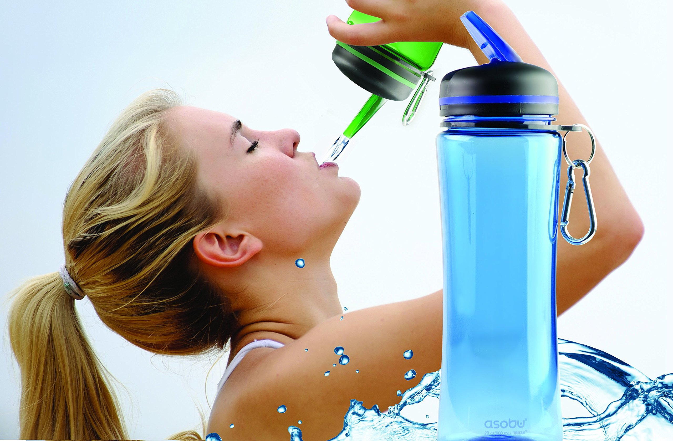 The Asobu TRIUMPH SPORT HYDRATION BOTTLE 20oz Tritan Free Flow spout Water bottle (Clear) by Asobu (Image #2)