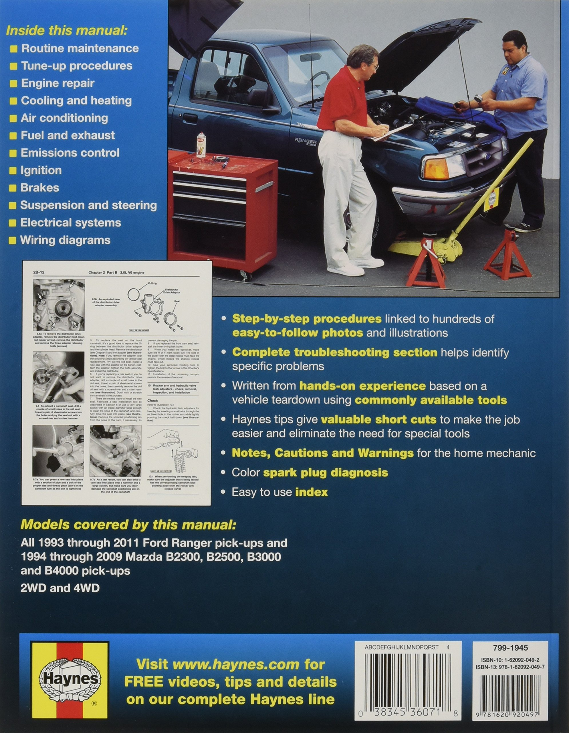 Haynes Repair Manual: Ford Ranger Pick-Ups 1993 thru 2011, also includes  1994 thru 2009 Mazda B2300, B2500, B3000, B4000: Editors of Haynes Manuals:  ...