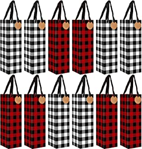 Whaline 12 Pack Christmas Wine Bags Red Black White Buffalo Plaid Wine Gift Bags with Kraft Paper Tags Holiday Bottle Bags for Winter Christmas Party Favor Home Table Decoration, 4 x 4 x 13 Inch