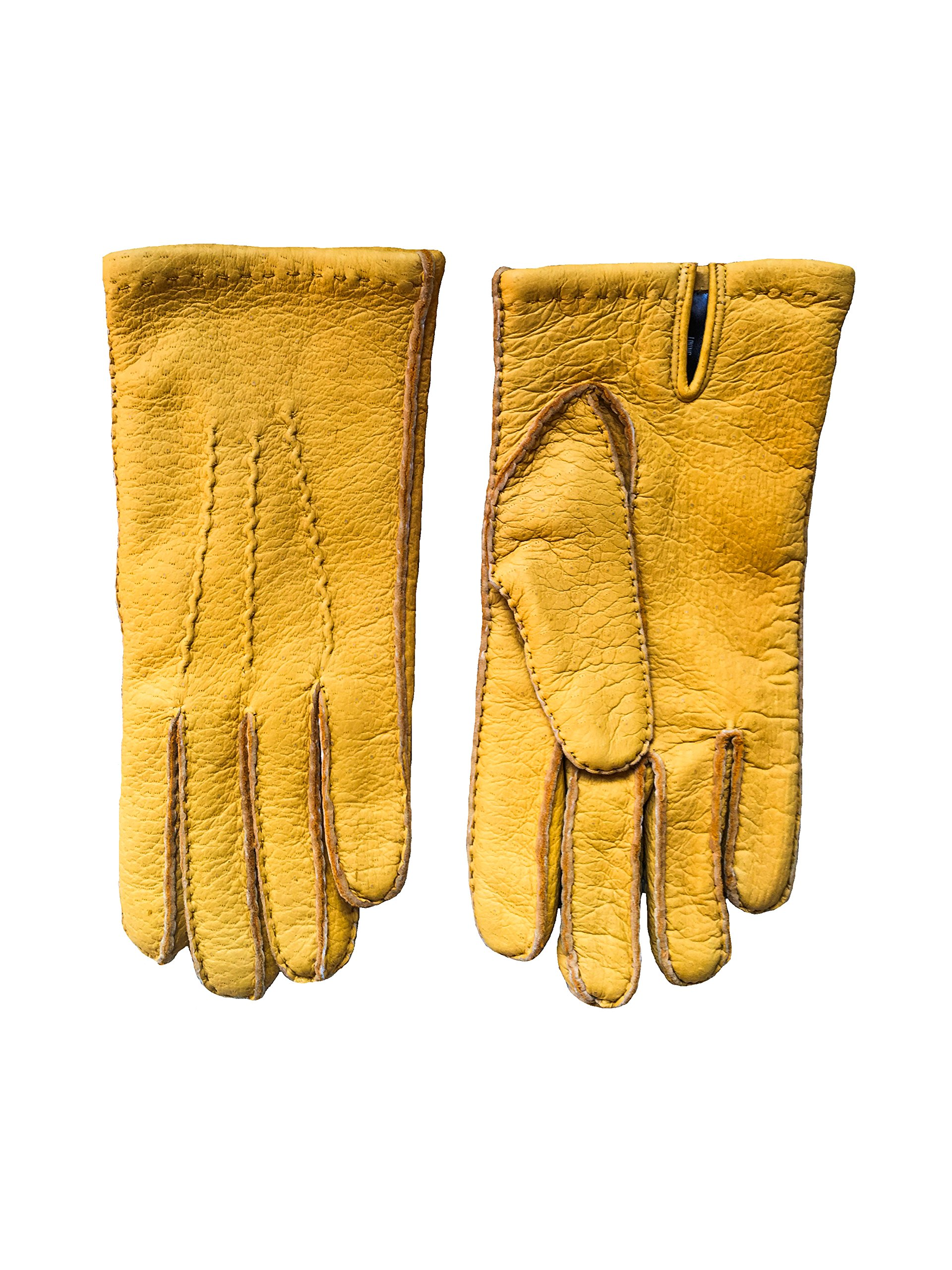 Men's Peccary Winter Leather Gloves Cashmere Lined Hand Sewn Color Yellow by Hungant (9, Yellow)
