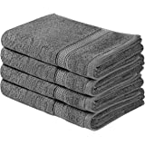 Utopia Towels Cotton Large Hand Towel Set (4 Pack, Grey - 16 x 28 Inches) - Multipurpose Bathroom Towels for Hand, Face, Gym and Spa