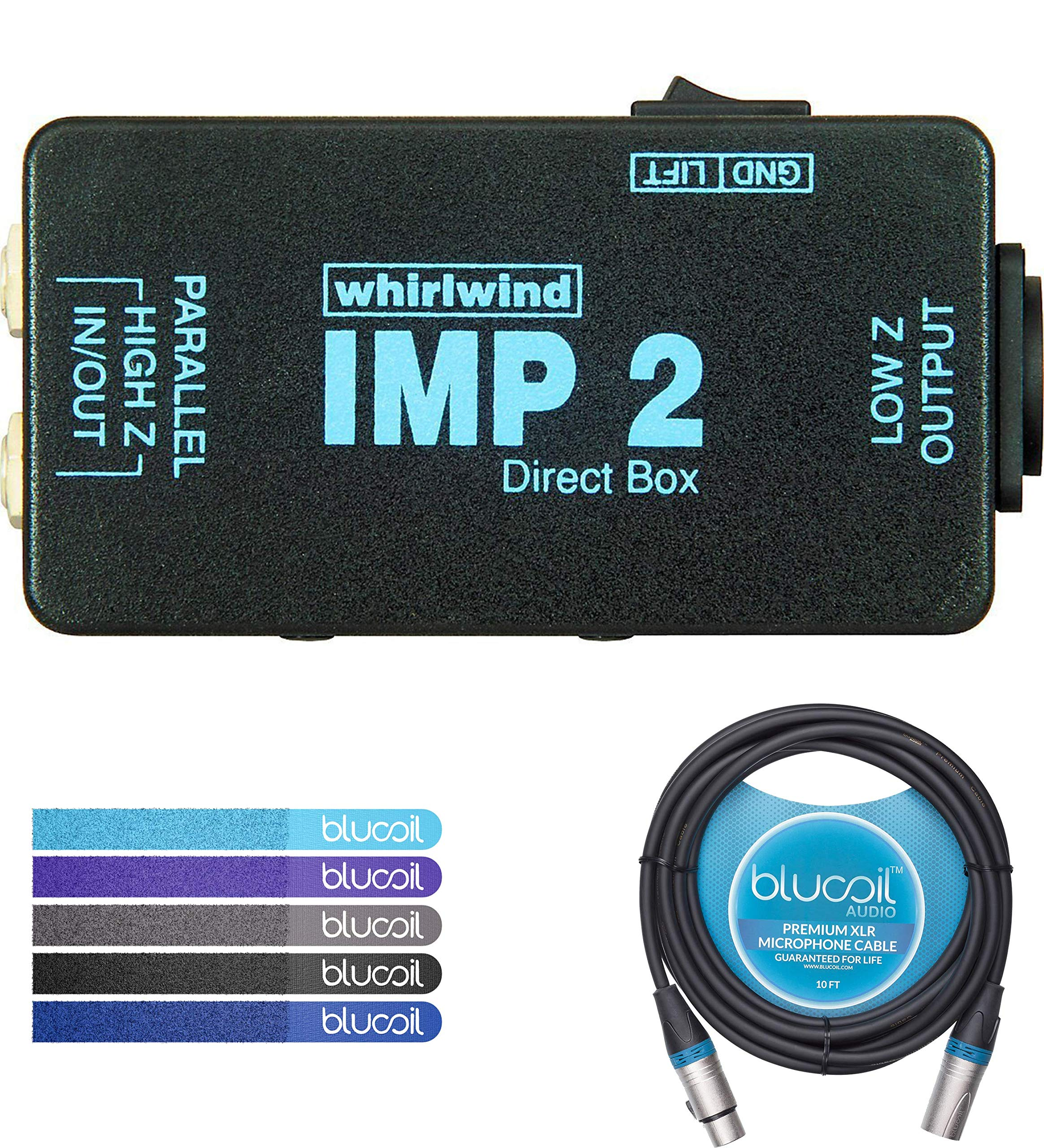 Whirlwind IMP 2 Passive Direct Box with 1-Channel Bundle with Blucoil Audio 10ft Balanced XLR Cable and 5 Pack of Reusable Cable Ties