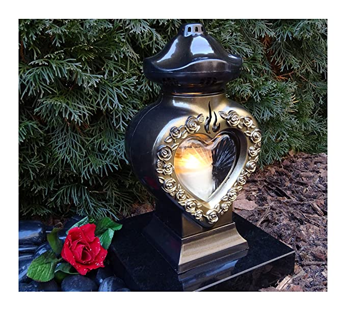 ? GRABLAMPE Herz incl. LED-Grablicht 28,0cm GRABSCHMUCK GRABLATERNE GRABLEUCHTE Laterne Kerze LICHT Friedhof Garten TROSTHERZ