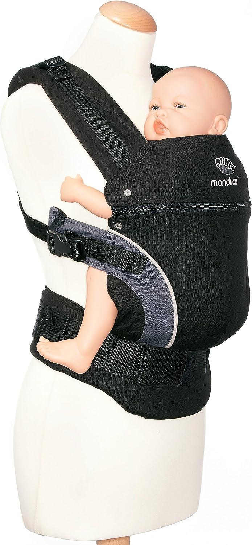 manduca First Porte Bebe  HempCotton Black  Porte-B/éb/é Physiologique en Chanvre /& Coton Biologique dorsal, ventral, sur la hanche noir 3 Positions pour les Enfants de la Naissance /à 20kg