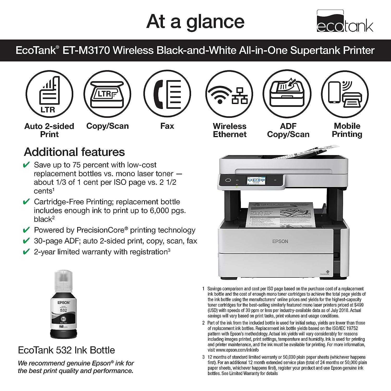 Amazon.com: Epson EcoTank ET-M3170 Impresora multitanque ...
