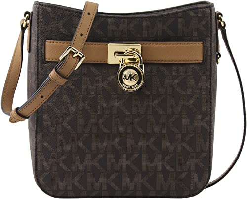 0a6e48d91efd MICHAEL Michael Kors Women s Brown Acorn Signature PVC Hamilton Large  Crossbody Bag