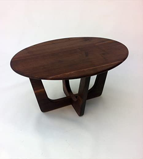 Amazon.com: Mid Century Modern Coffee Table   20x30 Oval Cocktail Table    Solid Walnut   Atomic Era Biomorphic Boomerang Midcentury Adrian Pearsall  ...
