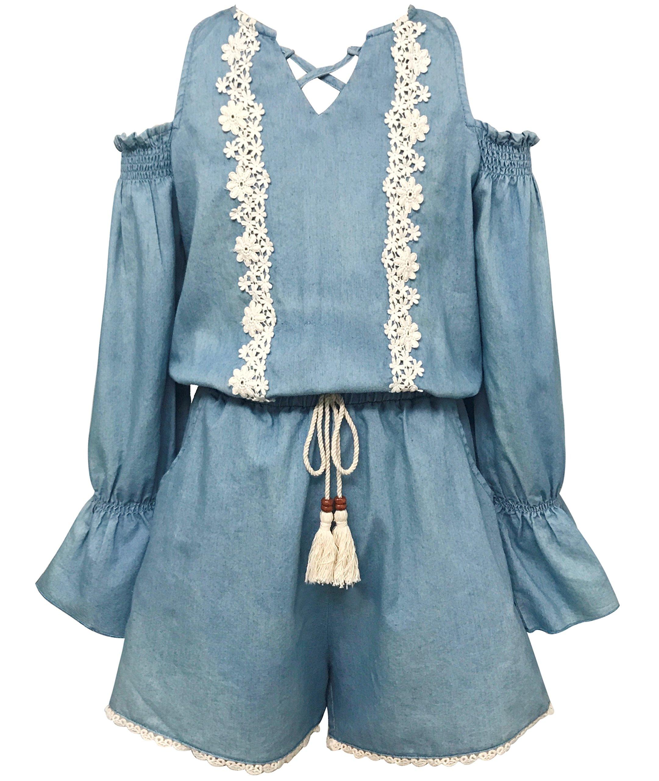Smukke, Big Girls Vintage Lace Trimmed Cold Shoulder Washed Long Sleeve Denim Romer, 7-16 (14, Blue Multi)