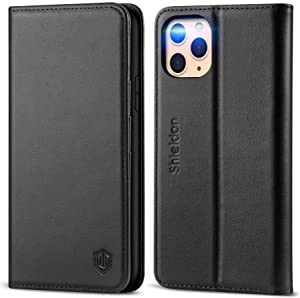 """SHIELDON iPhone 11 Pro Case, Genuine Leather Auto Sleep Wake RFID Blocking Wallet Case with Viewing Stand and Card Slots, TPU Shockproof Protective Cover Compatible with iPhone 11 Pro (5.8"""") - Black"""