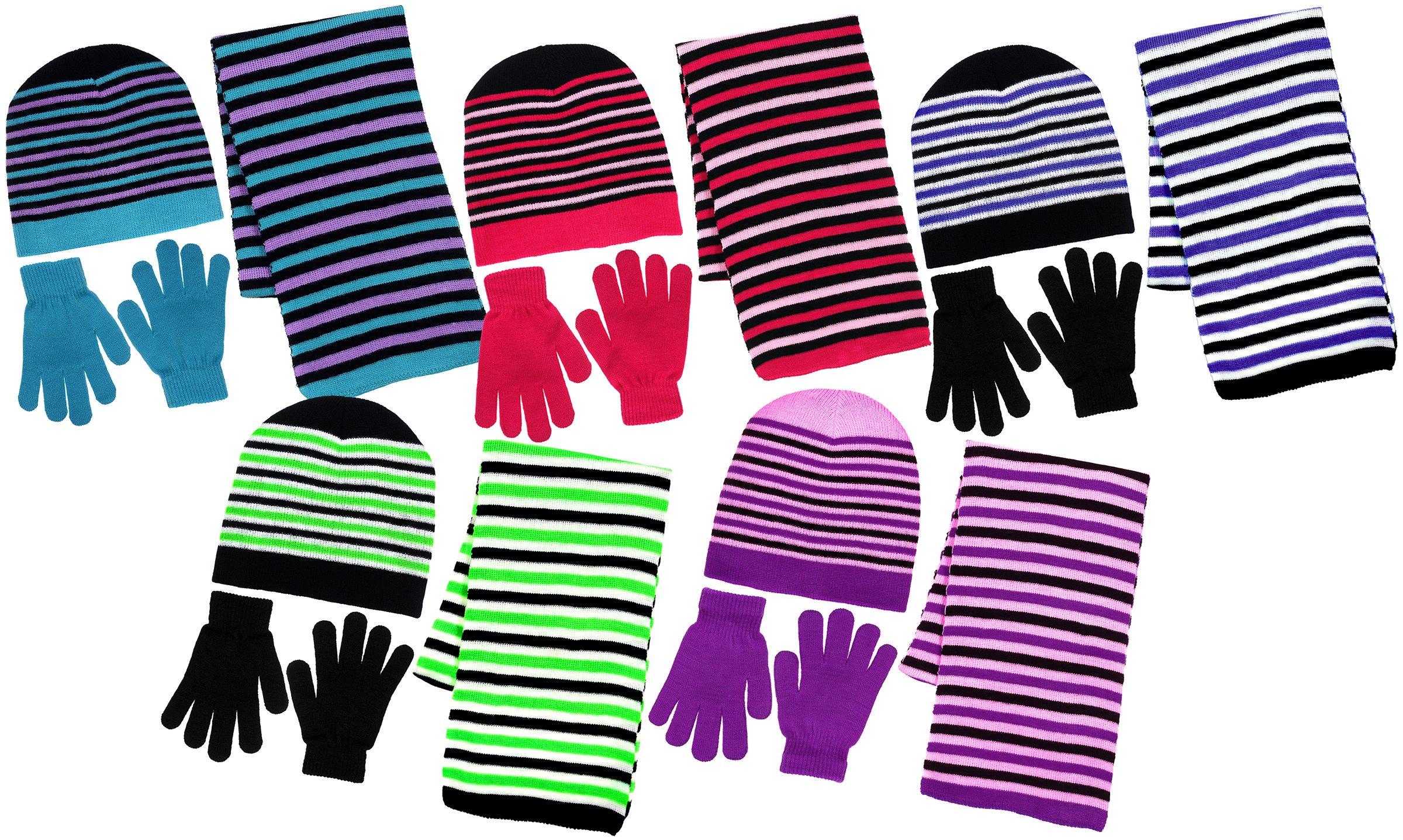 3 Piece Purple-Black Knit Hat, Scarf & Gloves Set Winter Accessories