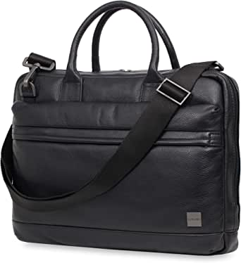 Knomo Barbican Foster, Leather Laptop Business Briefcase, Slim Design with RFID Pocket, Black