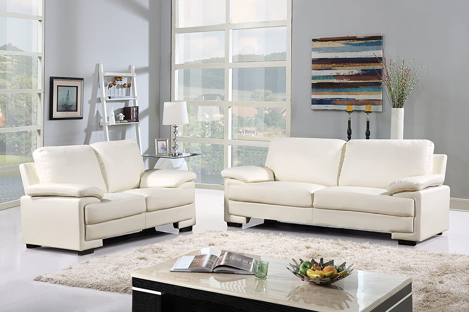 Amazon.com: Modern Faux Leather Sofa and Loveseat Living Room ...