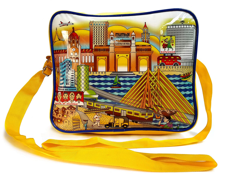 Children s Designer Rexine Sling Bag With Mumbai Theme  Amazon.in ... 959f61ee34390