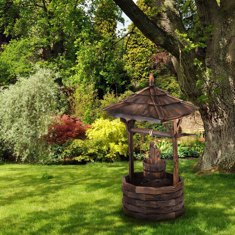 135cm Fir Burnt Wood Fire Treatment for Protection Against Atmospheric Agents Blumfeldt Loreley Garden Fountain Garden Decoration
