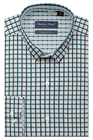 321977aef0b Mens 100% Cotton Mens Slim FIT Green Brown Checkered Shirt for Casual WEAR