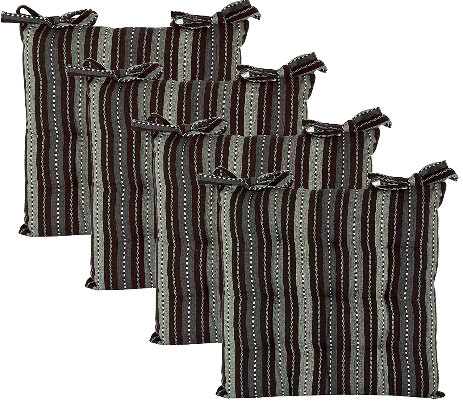 Cotton Craft - Set of 4 -Grey Multi Salsa Stripe Dining Chair Pad Cushion with Ties Size 17x17 Inches